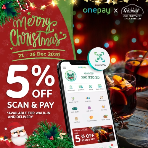 5% OFF for Scan & Pay at Apex Gourmet (Minimum spending - 30,000Ks)