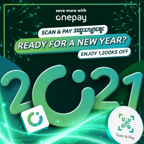 1,200Ks OFF for Scan & Pay with Onepay (Minimum spending - 10,000Ks)